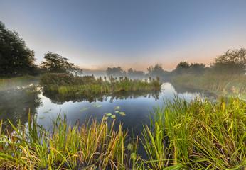 Wall Mural - Marshland river system under foggy morning sunrise