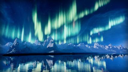 Aurora Borealis over Snowy Mountains A 3d image of the Aurora Borealis display over snowy mountains.