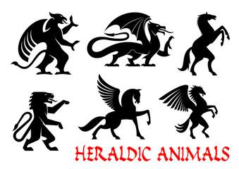 Heraldic mythical animals emblems