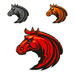 Horse stallion heads heraldic emblems