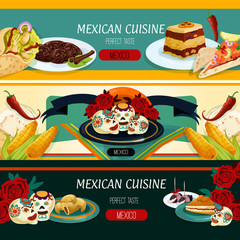 Mexican cuisine menu banners with authentic food