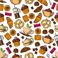 Pastries, sweets with tea drinks seamless pattern