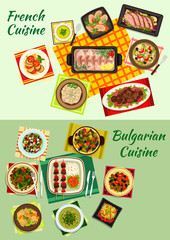 French and bulgarian cuisine dinner dishes icon