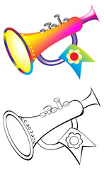 Colorful and black and white pattern trumpet, vector cartoon image.