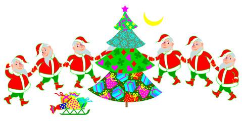 Illustration of funny Santa Claus dancing around Christmas tree, vector cartoon image.