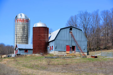 Early spring old farm in country side of Bromont it is in the Brome-Missisquoi Regional County Municipality