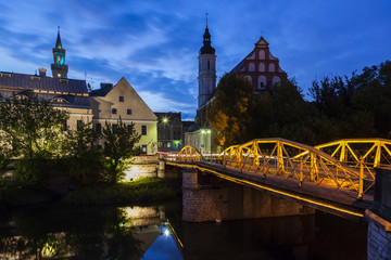 Old town of Opole across Oder River