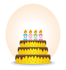 Birthday cake with colorful and expressive candles