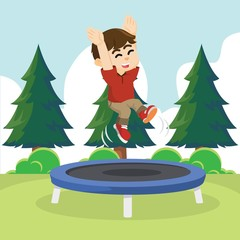 boy cheerful jumping on trampoline