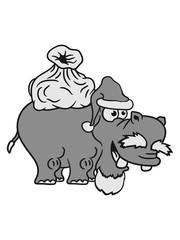 gifts Christmas Santa Claus santa claus hat sack winter nicholas comic cartoon sweet little cute child happy hippo