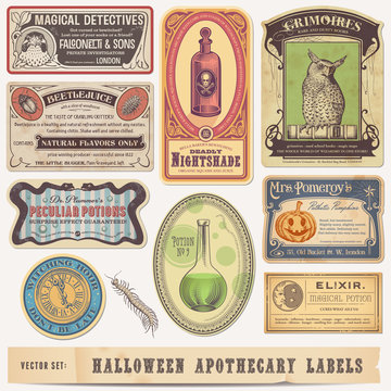 collection of funny vintage halloween apothecary labels - vector designs