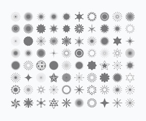 Complete set of 80 stars, flowers, sunbeams, snowflakes, signs and symbols icons