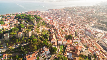 Castle of Saint George and Tagus river Lisbon view from above