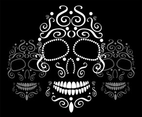 Skull vector ornament background for fashion design, patterns, tattoos
