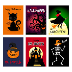 Retro autumn halloween posters. Night vector halloween flyer set vector illustration