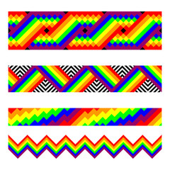Vector seamless brushes in rainbow colors.