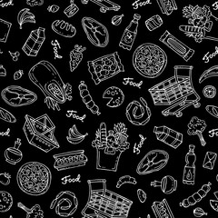 Pattern on the theme of food on black color