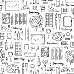 Vector seamless pattern with hand drawn isolated stationery on white color