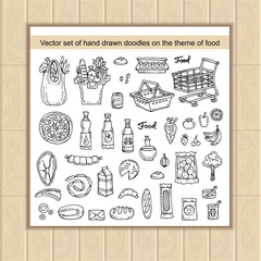 Vector set with hand drawn isolated doodles on the theme of food
