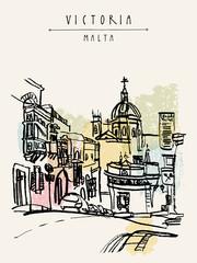 Foto auf AluDibond Gezeichnet Straßenkaffee Catholic church in Victoria, Gozo island, Malta, Europe. Vintage hand drawn touristic postcard or poster template, book illustration
