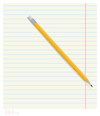 Pencil lying on notebook sheet in line with the fields