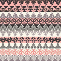 Multicolor seamless pattern. Boho style strips. tribal texture