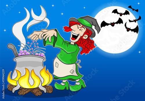 Hexe kocht Zaubertrank in einem Kessel in einer Vollmondnacht\