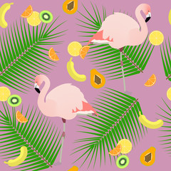 Seamless texture , flamingos ion a pink background  and fruits ,