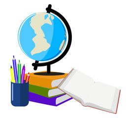 Globe with books , education , early learning