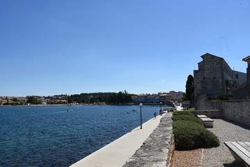 Porec, Parenzo, Parens, Stadtmauer, Mauer, Promenade, Ufer, Bank