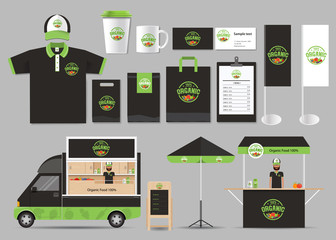 organic food  brading  identity mock up template with logo design  for restaurant and food shop