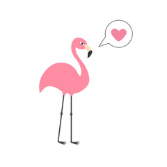 Pink flamingo on one leg. Talk think bubble with heart. Zoo animal collection. Exotic tropical bird. Cute cartoon character. Decoration element. Flat design. White background. Isolated.