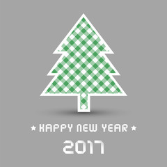 Happy new year 2017 with Christmas tree