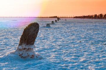 Sunset on salt lakes