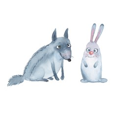 Animal set. Wolf and hare. Watercolor illustration, isolated on white
