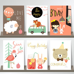 Colorful collection for banners,Flyers,Placards with fox,sheep,b