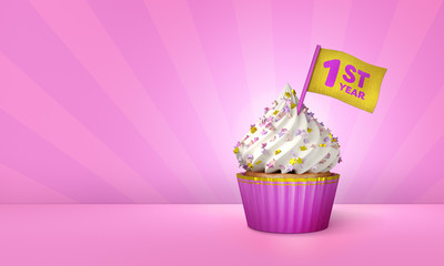 3D Rendering of Cupcake, 1st Year Text on the Flag, Pink Paper Cupcake