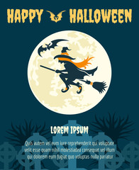 Halloween dark party invitation with witch and moon vector poster