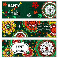 Happy Birthday set vector card.    mandala pattern, brochure, gift certificate, party invitation, congratulation