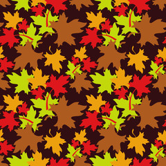 Autumn seamless pattern with colorful maple leaf fall. Vector clip art.