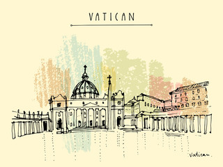 Saint Peter cathedral and Apostolic Palace in Vatican city, Europe. Hand drawing. Travel sketch. Vintage touristic postcard, poster, calendar or book illustration