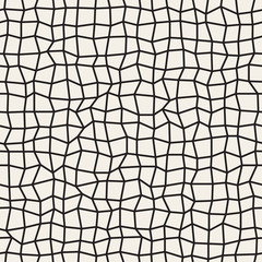 Vector Seamless Black and White Distorted Rectangle Mosaic Grid Pattern