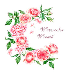 Hand-drawn watercolor illustration of the pink tender rose wreath. Romantic spring floral drawing. Roses and hydrangea wreath isolated on the white background