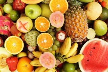 Many fresh fruits mixed, fruits background