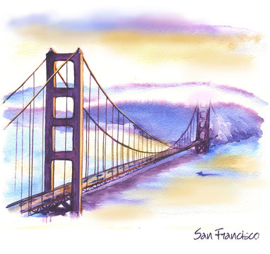 Hand-drawn watercolor drawing of the American landscape and famous building. Illustration of the Golden Gates Bridge