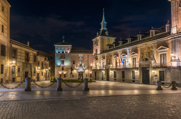 Night view of old Plaza de La Villa in the old town of Madrid, Spain