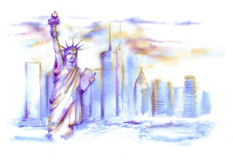 Hand-drawn watercolor drawing of the American landscape. Illustration of the Statue of Liberty in blue and violet colors