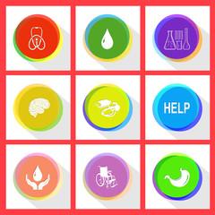 stethoscope, drop, chemical test tubes, brain, blood pressure, h