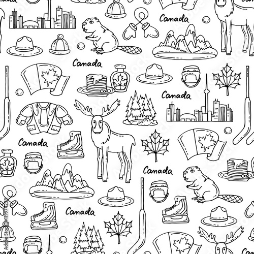 Vector Seamless Pattern On The Theme Of Canada Pattern With Symbols