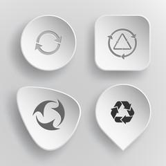 4 images: recycle symbol, recycle symbol. Recycle symbols set. W